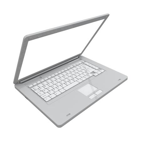 Laptop isolated on white photo