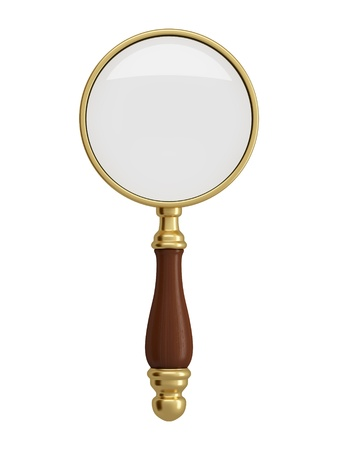 magnification: Antique gold magnifier isolated on white