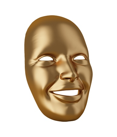 Gold mask isolated on white photo