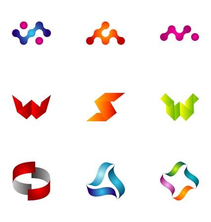 round logo: Logo design elements set 77