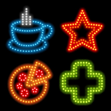 Neon icon set. Vector illustration Eps 10. Vector