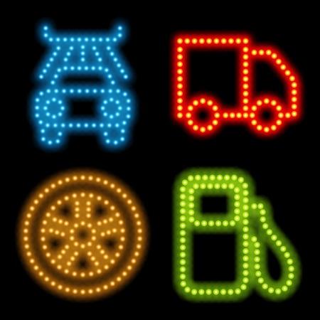 Neon icon set. Vector illustration Eps 10. Stock Vector - 10130328