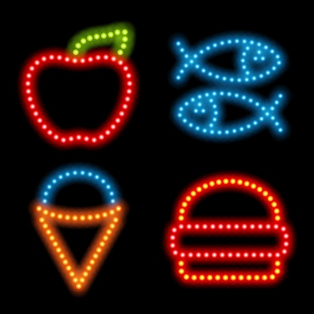 Neon icon set. Vector illustration Eps 10. Stock Vector - 10130321