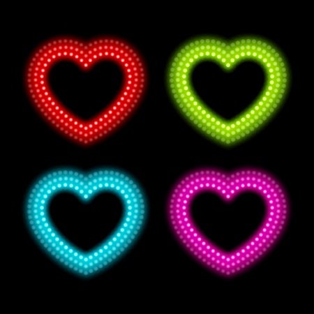 Neon heart signs. Vector illustration Eps 10. Vector