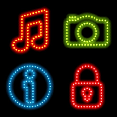 Neon icon set. Vector illustration Eps 10. Vector