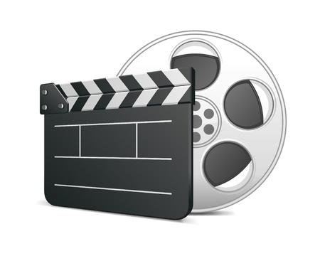 Film clap board and video film tape cinema vector illustration. Eps 10. Stock Vector - 10130302