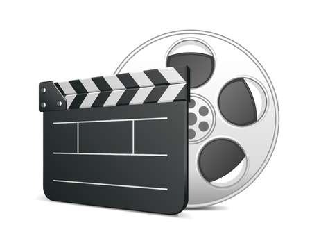 clap: Film clap board and video film tape cinema vector illustration. Eps 10. Illustration
