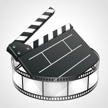 clap board: Pel�cula aplaudir bordo de cine tira de ilustraci�n vectorial. Eps 10.