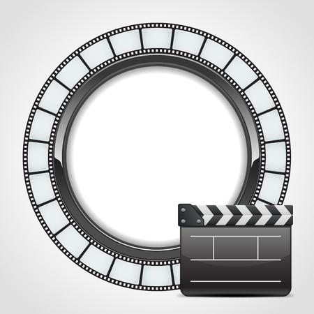 clap board: Cinta alrededor de la pel�cula con el fondo de cine vector aplaudir. Eps 10.