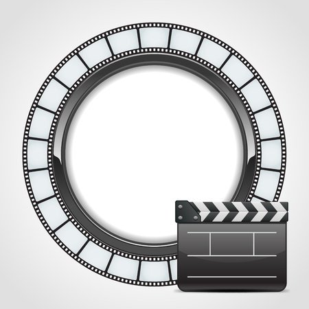 film tape: Film round tape with cinema clap vector background. Eps 10.