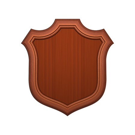 Wood shield isolated on white Stock Photo - 10161942