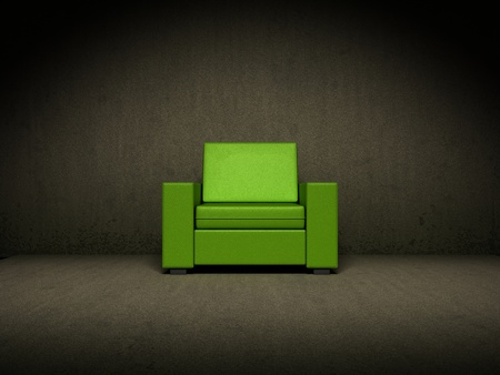green couch: Green chair in dark room Stock Photo