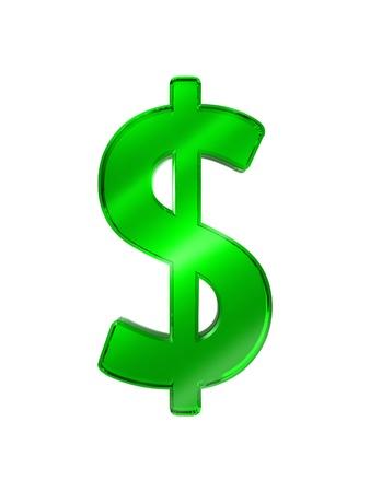 three dimensional shape: Green glass dollar