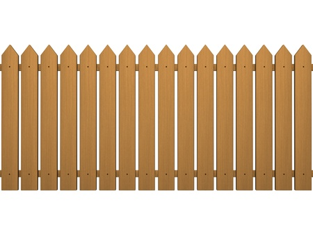 enclosures: Wood fence isolated on a white
