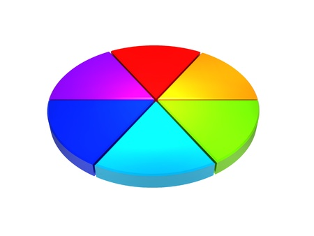 division: Colorful 3d pie graphs isolated on white Stock Photo