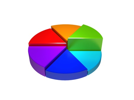 fraction: Colorful 3d pie graphs isolated on white Stock Photo