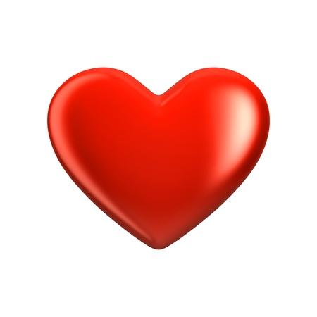 rood hart op wit wordt geïsoleerd