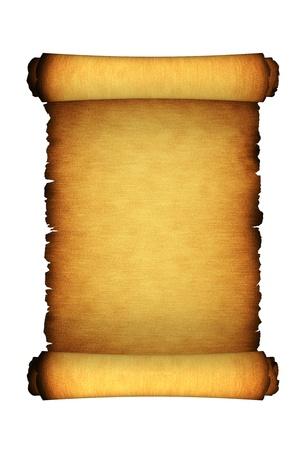 gebrannt: Papier Antique Scroll Isoliert Auf Weiss