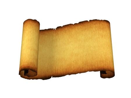 고대: 종이 골동품 스크롤 화이트 절연 스톡 사진