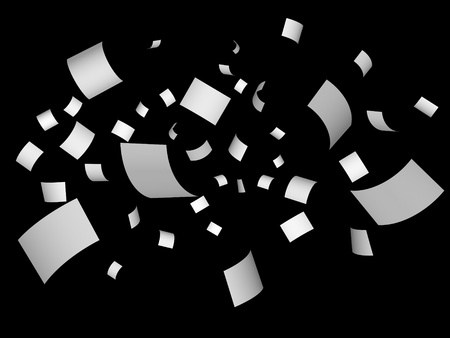 scatters: Blank papers fly on black