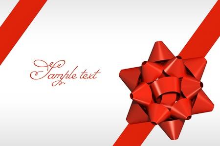 Červená stuha s dárkem luk pozadím Reklamní fotografie
