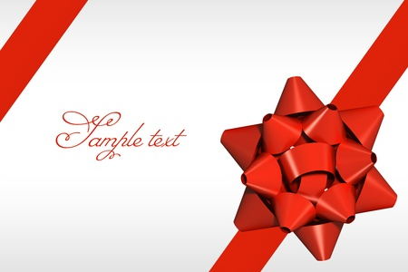 Red ribbon with gift bow background Stock Photo