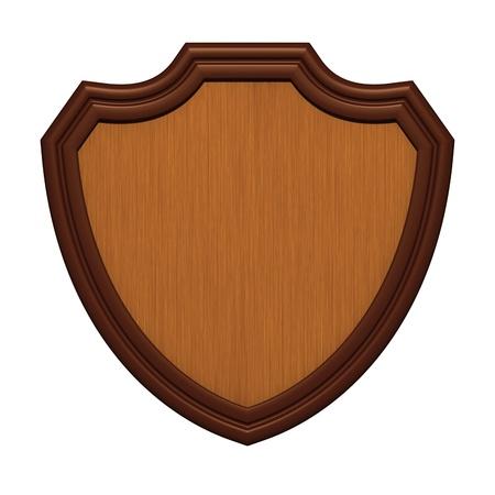 Wood shield isolated on white photo