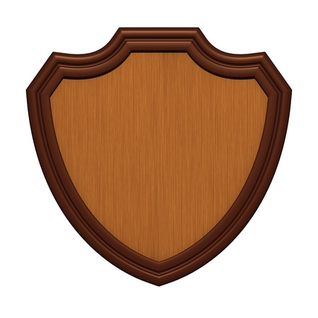 Wood shield isolated on white photo