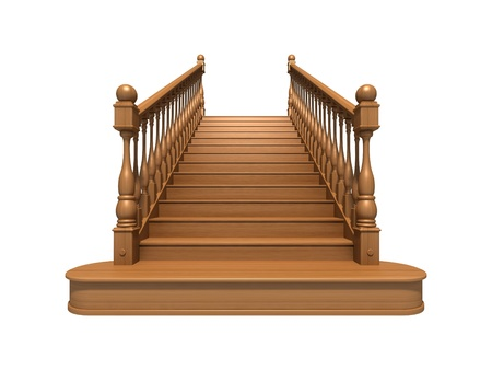 down the stairs: Escaleras de madera aislados en blanco Foto de archivo