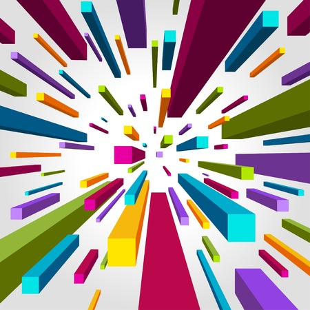bends: Fly colorful 3d cubes vector background