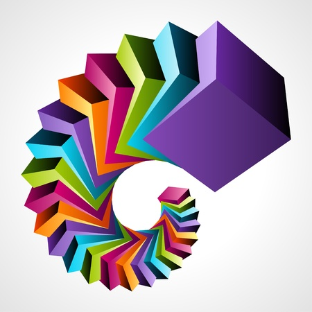 3d shape: Fly colorful 3d cubes vector background