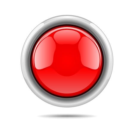 bouton brillant: Bouton rouge vecteur �clatant