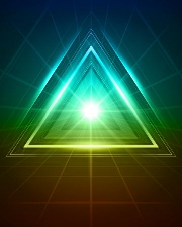 삼각형: 3D 추상적 인 삼각형 터널 벡터 배경 일러스트