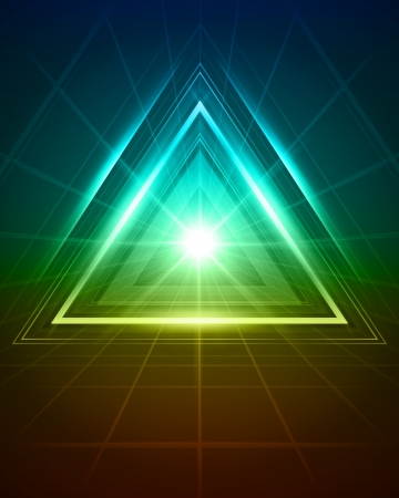 light tunnel: 3D abstract triangle tunnel vector background