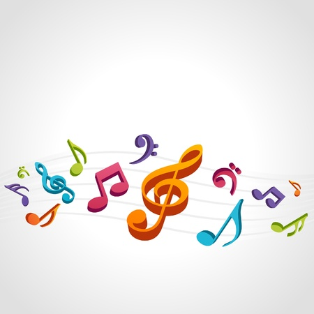 music banner: Colorful music background with fly notes Illustration