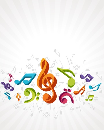 Colorful music background with fly notes Stock Vector - 10578348