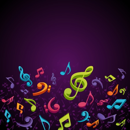 violet red: Colorful music background with fly notes Illustration