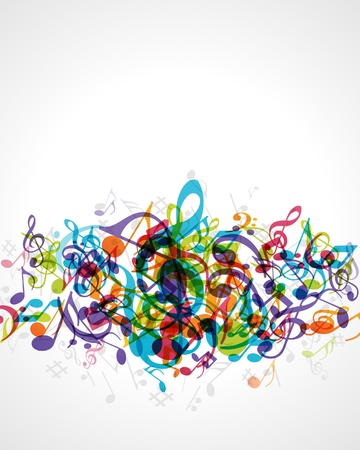 translucent red: Colorful music background with fly notes Illustration