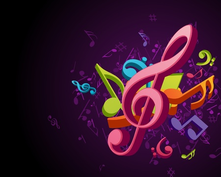 musical ornament: Colorful music background with fly notes Illustration