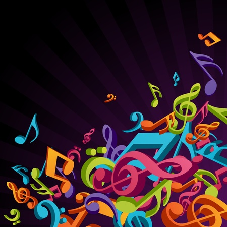 3d colorful music background with fly notes  Vector