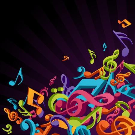 Fondo de música colorida 3D con notas de moscas  Ilustración de vector