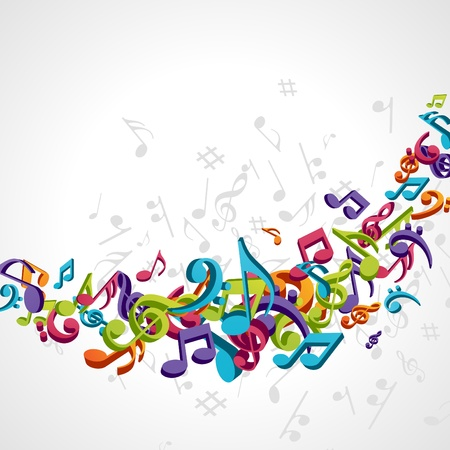 musical ornament: Colorful music background with fly notes