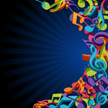 conservatory: Colorful music background with fly notes