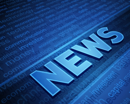 business news: 3d news text in perspective with tags vector background