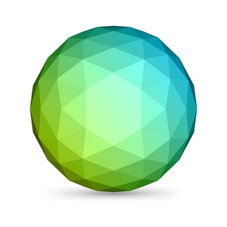 esfera: 3d abstracto origami vector poligonal esfera de elementos de diseño