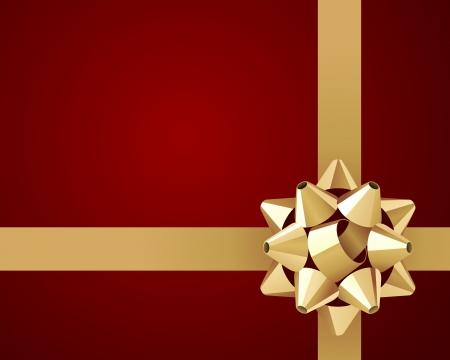 fiocco oro: Saluto cartellino rosso con sfondo vettoriale arco d'oro Vettoriali