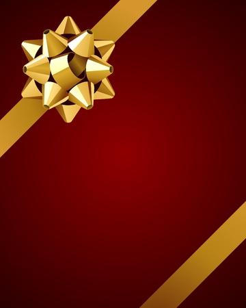 fiocco oro: Biglietto di auguri con fondo oro vettore arco Vettoriali
