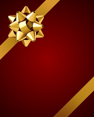 Greeting card with gold bow vector background Illustration