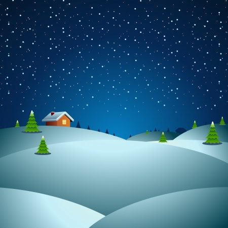 snowing: Christmas night vector background Illustration