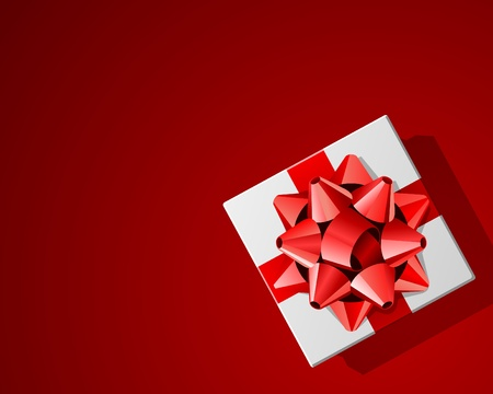 Whie gift top view with red bow vector background Vector